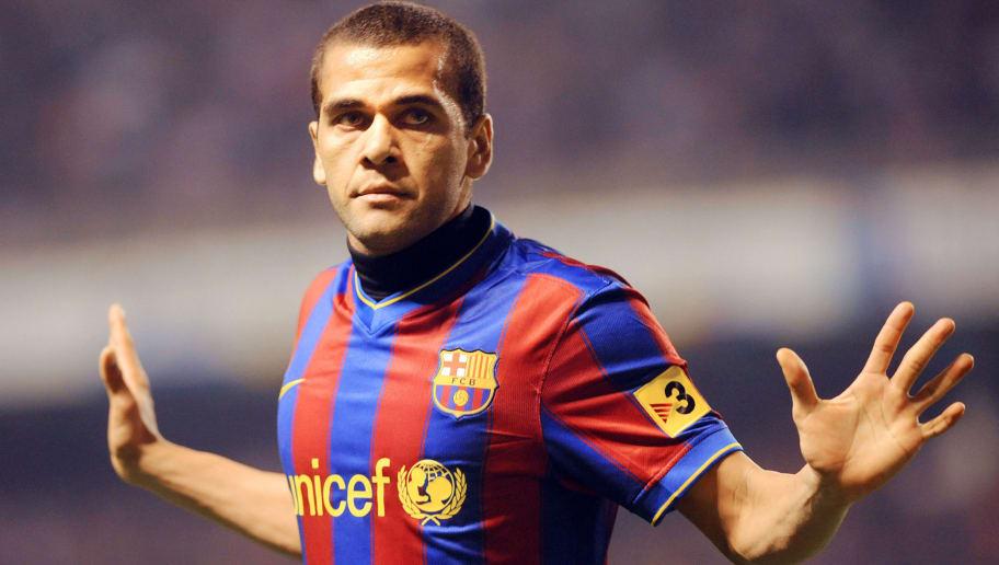 Barcelona's Brazilian Daniel Alves celeb