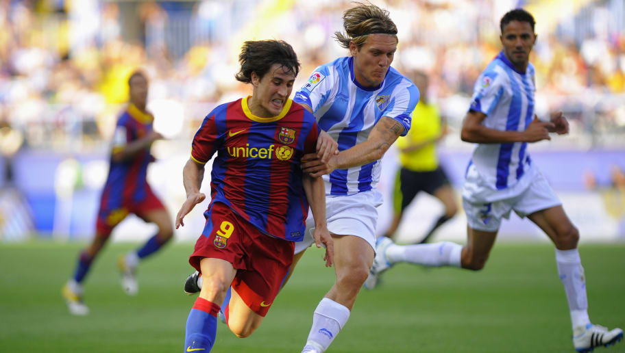Barcelona's forward Bojan Krkic (L) vies