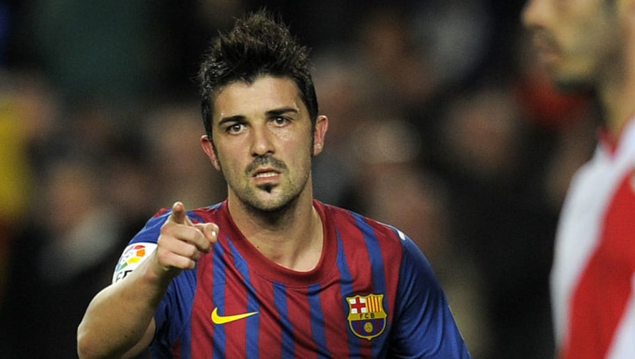 Barcelona's forward David Villa celebrat