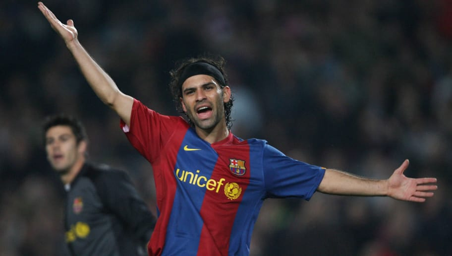 Barcelona, SPAIN: Barcelona's Mexican defender Rafael Marquez gestures during the first leg of a last 16 Champions League football match against Liverpool at the Camp Nou stadium in Madrid, 21 February 2007.  AFP PHOTO/PIERRE PHILIPE MARCOU (Photo credit should read PIERRE-PHILIPPE MARCOU/AFP/Getty Images)