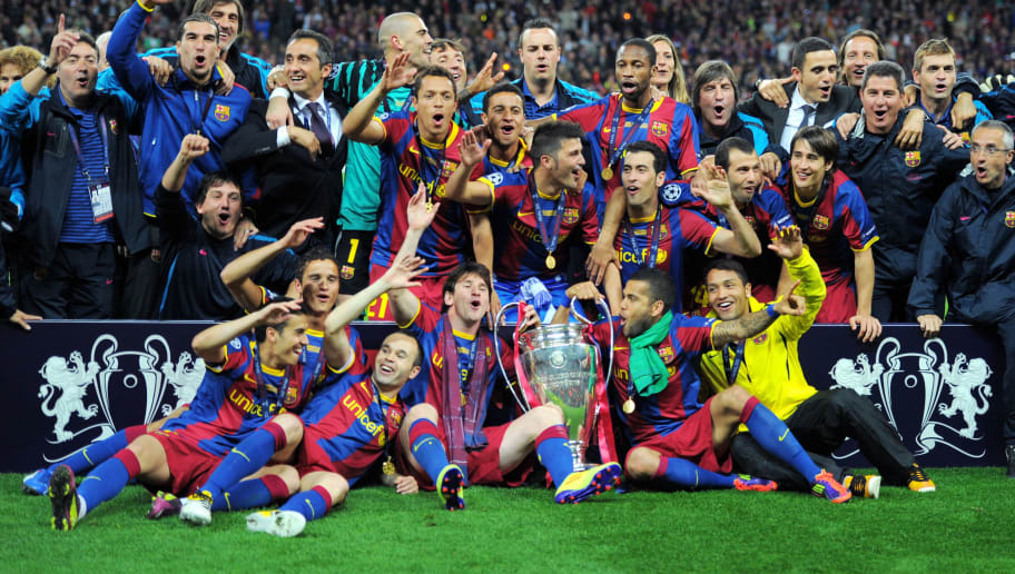 Barcelona's players celebrate with the t