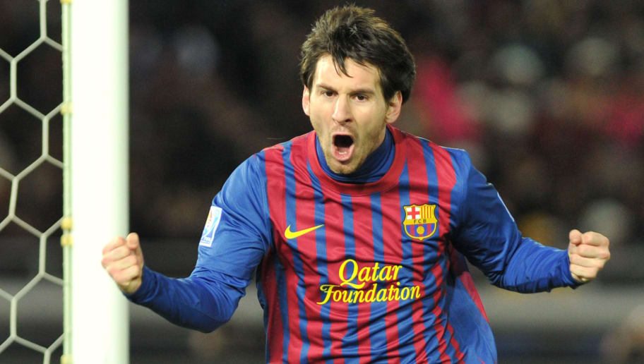 Barcelona striker Lionel Messi celebrate