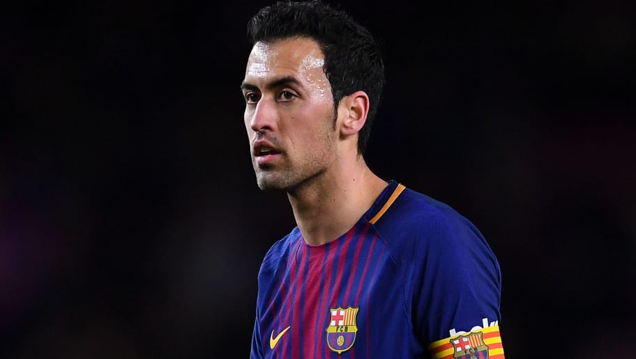 BARCELONA, SPAIN - JANUARY 11:  Sergio Busquets of FC Barcelona looks on during the Copa del Rey round of 16 second leg match between FC Barcelona and Celta de Vigo at Camp Nou on January 11, 2018 in Barcelona, Spain.  (Photo by David Ramos/Getty Images)