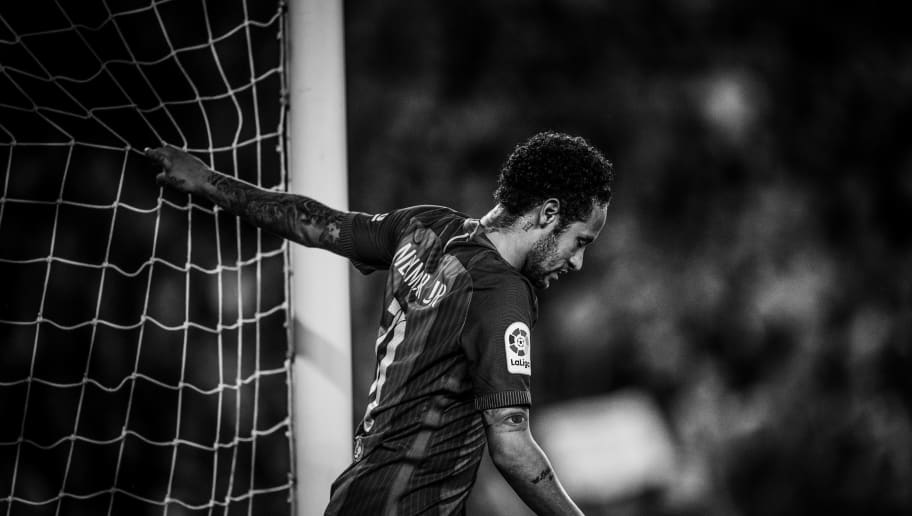 BARCELONA, SPAIN - MAY 21: (EDITORS NOTE: This image has been converted to black and white) Neymar Jr. of FC Barcelona looks on during the La Liga match between Barcelona and Eibar at Camp Nou on 21 May, 2017 in Barcelona, Spain.  (Photo by David Ramos/Getty Images)