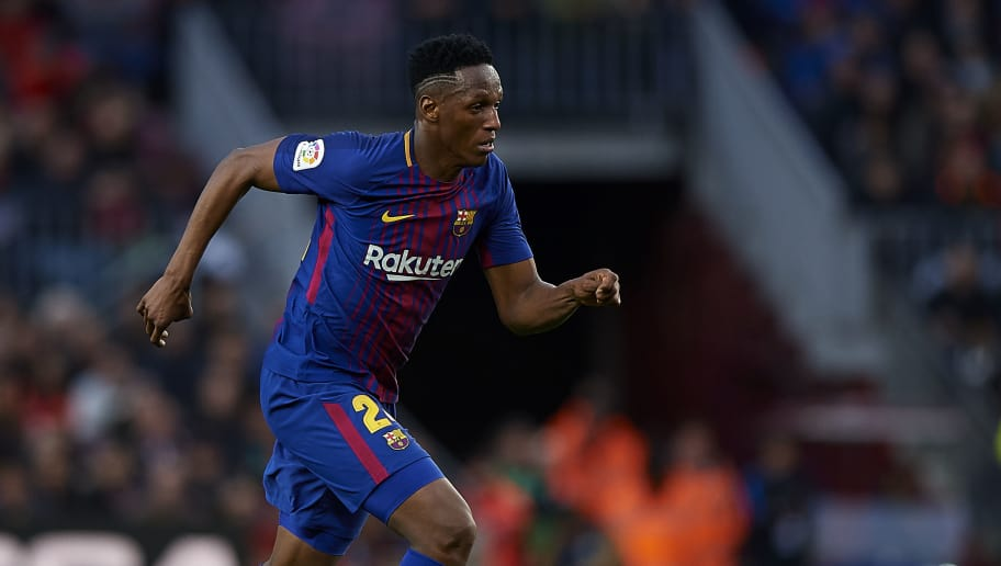 BARCELONA, SPAIN - FEBRUARY 11:  Yerry Mina of Barcelona in action during the La Liga match between Barcelona and Getafe at Camp Nou on February 11, 2018 in Barcelona, Spain.  (Photo by Quality Sport Images/Getty Images)