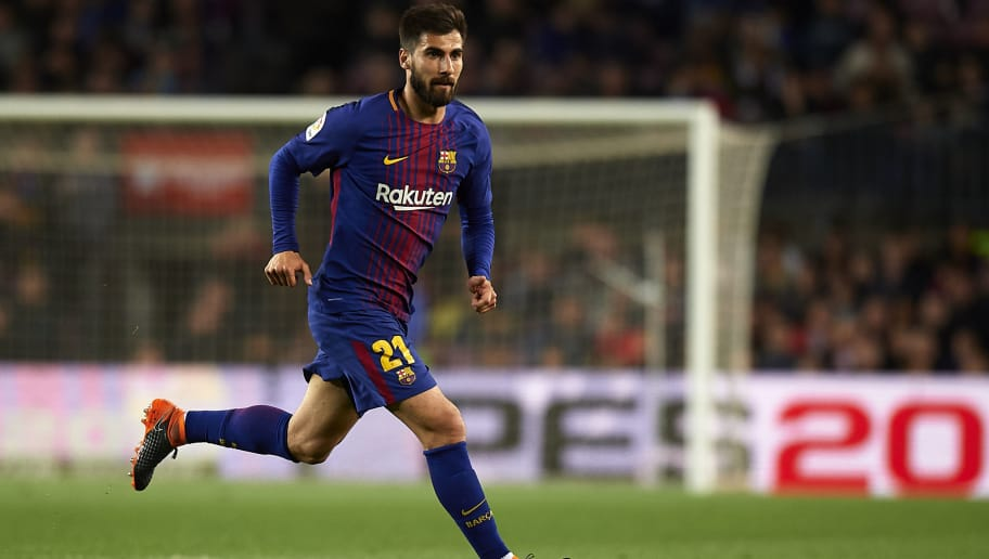 BARCELONA, SPAIN - APRIL 07:  Andre Gomes of Barcelona in action during the La Liga match between Barcelona and Leganes at Camp Nou on April 7, 2018 in Barcelona, Spain.  (Photo by Quality Sport Images/Getty Images)
