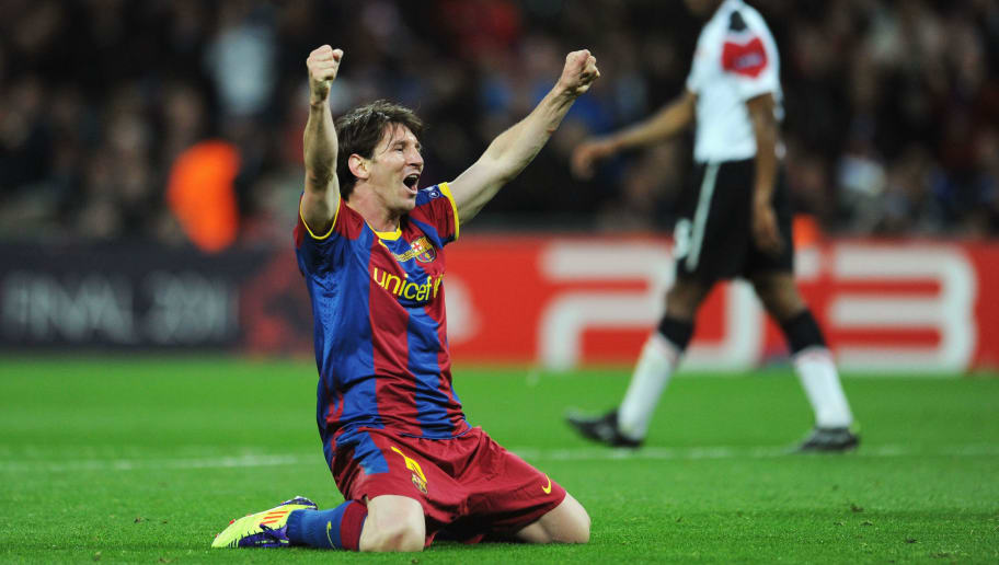 LONDON, ENGLAND - MAY 28:  Lionel Messi of FC Barcelona celebrates as David Villa scores the third goal during the UEFA Champions League final between FC Barcelona and Manchester United FC at Wembley Stadium on May 28, 2011 in London, England.  (Photo by Jasper Juinen/Getty Images)