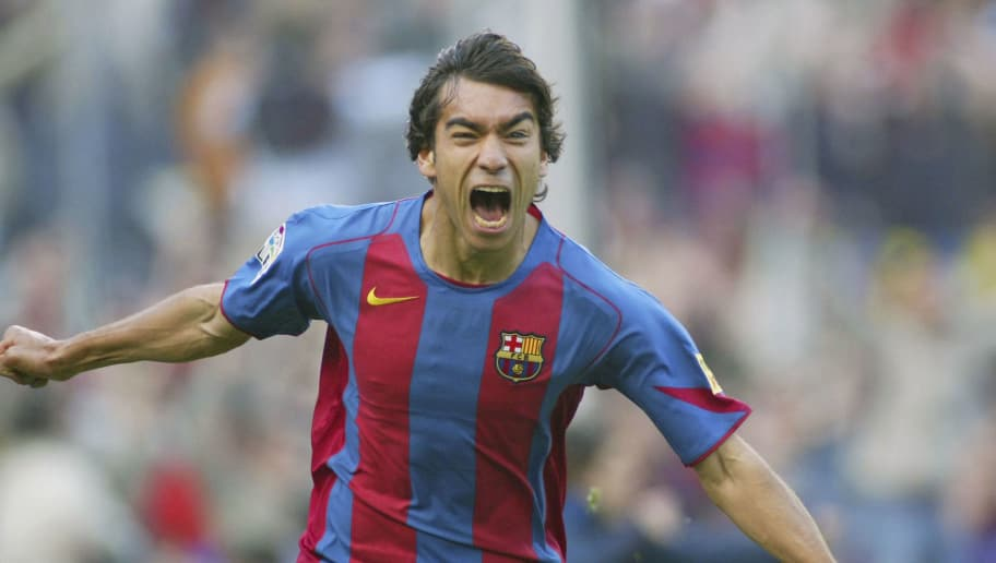 BARCELONA, SPAIN - APRIL 3: Gio Van Bronckhorst of Barcelona celebrates his goal during the La Liga match between FC Barcelona and Real Betis on April 3, 2005 at the Camp Nou stadium in Barcelona, Spain. (Photo by Luis Bagu/Getty Images)
