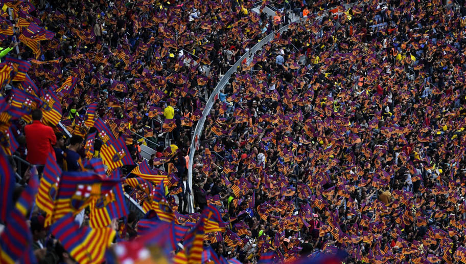 BARCELONA, SPAIN - MAY 06:  A general view as FC Barcelona fans show their support prior to the La Liga match between Barcelona and Real Madrid at Camp Nou on May 6, 2018 in Barcelona, Spain.  (Photo by David Ramos/Getty Images)