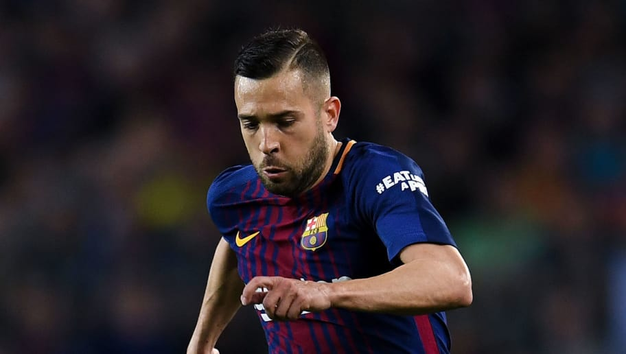 BARCELONA, SPAIN - MAY 06:  Jordi Alba of FC Barcelona runs with the ball during the La Liga match between Barcelona and Real Madrid at Camp Nou on May 6, 2018 in Barcelona, Spain.  (Photo by David Ramos/Getty Images)