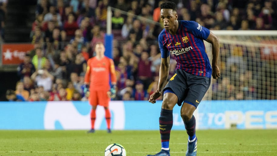 BARCELONA, SPAIN - MAY 20: Yerry Fernando Mina of FC Barcelona in action during the La Liga match between Barcelona and Real Sociedad at Camp Nou on May 20, 2018 in Barcelona, . (Photo by Power Sport Images/Getty Images)