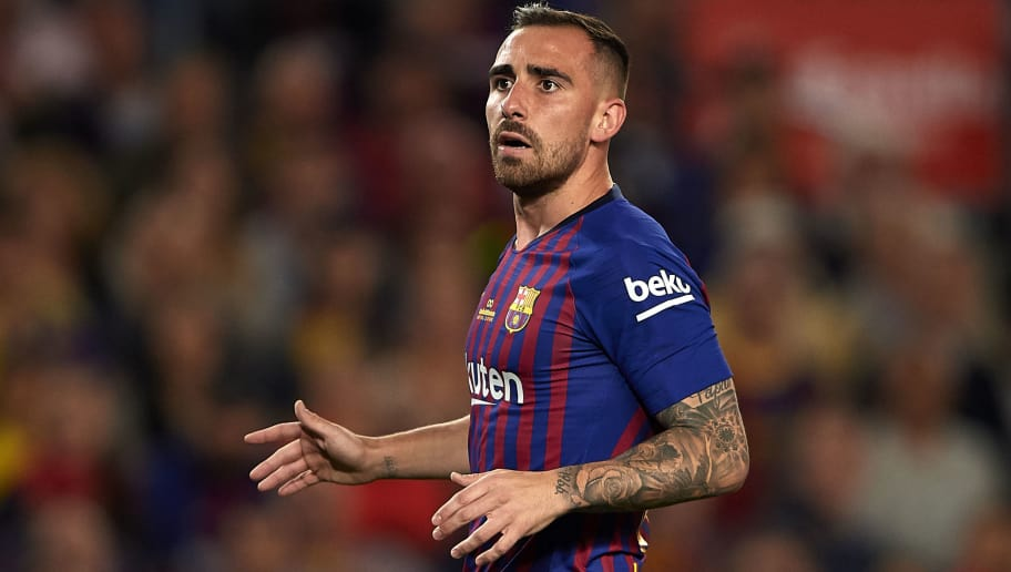 BARCELONA, SPAIN - MAY 20:  Paco Alcacer of Barcelona looks on during the La Liga match between Barcelona and Real Sociedad at Camp Nou on May 20, 2018 in Barcelona, Spain.  (Photo by Quality Sport Images/Getty Images)