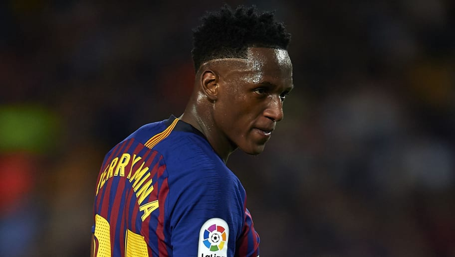 BARCELONA, SPAIN - MAY 20:  Yerry Mina of Barcelona looks on during the La Liga match between Barcelona and Real Sociedad at Camp Nou on May 20, 2018 in Barcelona, Spain.  (Photo by Quality Sport Images/Getty Images)