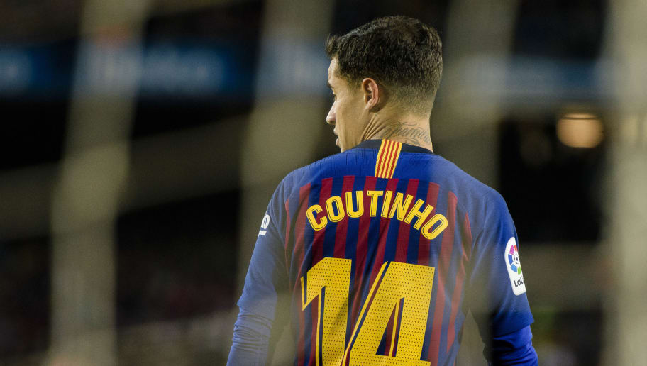 BARCELONA, SPAIN - MAY 20: Philippe Coutinho of FC Barcelona in action during the La Liga match between Barcelona and Real Sociedad at Camp Nou on May 20, 2018 in Barcelona, . (Photo by Power Sport Images/Getty Images)