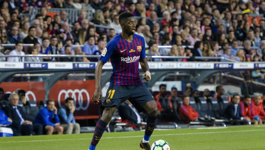 BARCELONA, SPAIN - MAY 20: Ousmane Dembele of FC Barcelona in action during the La Liga match between Barcelona and Real Sociedad at Camp Nou on May 20, 2018 in Barcelona, . (Photo by Power Sport Images/Getty Images)