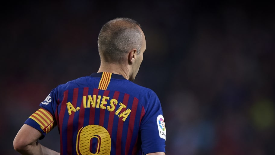 BARCELONA, SPAIN - MAY 20:  Andres Iniesta of Barcelona looks on during the La Liga match between Barcelona and Real Sociedad at Camp Nou on May 20, 2018 in Barcelona, Spain.  (Photo by Quality Sport Images/Getty Images)