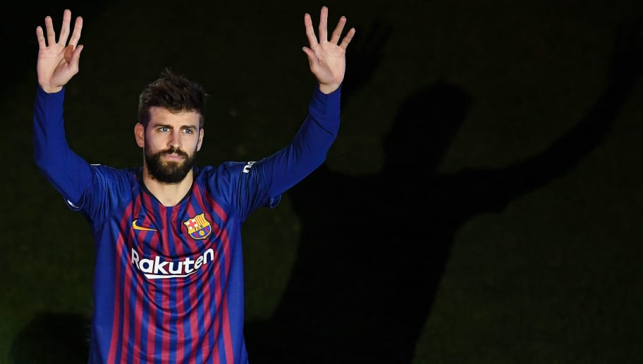 BARCELONA, SPAIN - MAY 20:  Gerard Pique of FC Barcelona reacts at the end of the La Liga match between Barcelona and Real Sociedad at Camp Nou on May 20, 2018 in Barcelona, Spain.  (Photo by David Ramos/Getty Images)