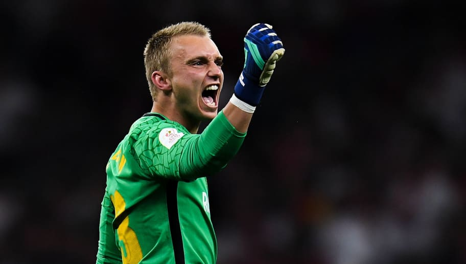 BARCELONA, SPAIN - APRIL 21:  Jasper Cillessen of FC Barcelona celebrates after Luis Suarez of FC Barcelona scored the opening goal during the Spanish Copa del Rey Final match between Barcelona and Sevilla at Wanda Metropolitano stadium on April 21, 2018 in Barcelona, Spain.  (Photo by David Ramos/Getty Images)