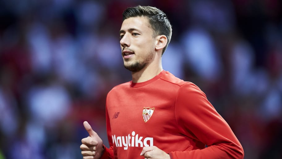 MADRID, SPAIN - APRIL 21:  Clement Lenglet of Sevilla FC reacts on prior to the match the Spanish Copa del Rey Final between Barcelona and Sevilla at Wanda Metropolitano on April 21, 2018 in Madrid, Spain.  (Photo by Aitor Alcalde Colomer/Getty Images)