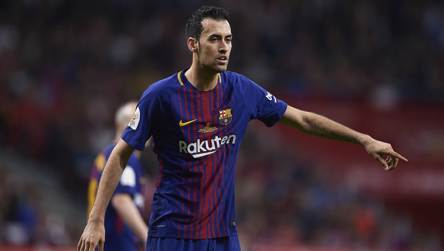 MADRID, SPAIN - APRIL 21:  Sergio Busquets of FC Barcelona  reacts during the Spanish Copa del Rey match between Barcelona and Sevilla at Wanda Metropolitano on April 21, 2018 in Madrid, .  (Photo by Aitor Alcalde Colomer/Getty Images)