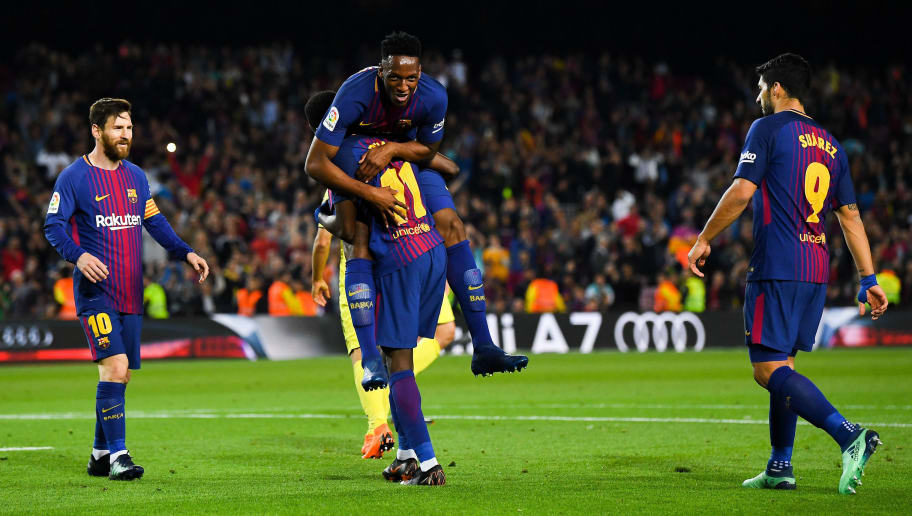 BARCELONA, SPAIN - MAY 09:  Oussame Dembele of FC Barcelona celebrates with his team mates Yerry Minam Lionel Messi and Luis Suarez  after scoring his team's fifth goal during the La Liga match between FC Barcelona and Villarreal at Camp Nou on May 9, 2018 in Barcelona, Spain.  (Photo by David Ramos/Getty Images)