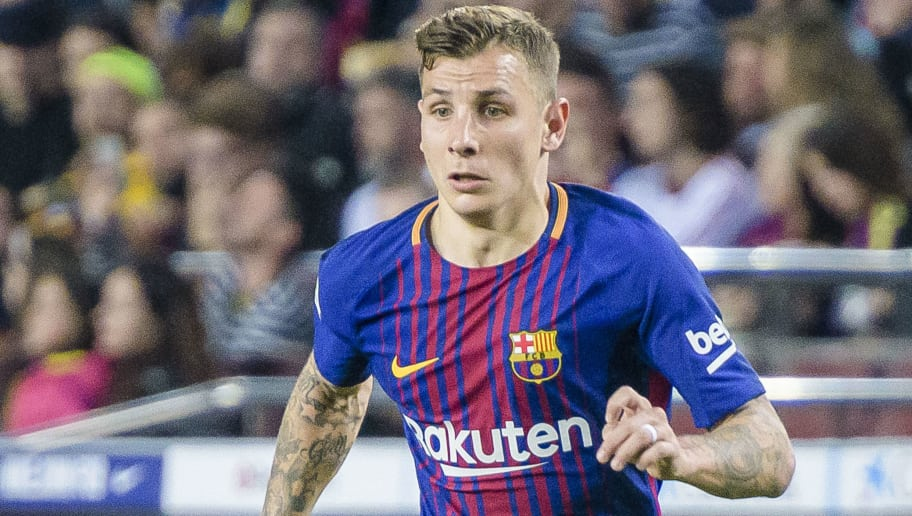 BARCELONA, SPAIN - MAY 09: Lucas Digne of FC Barcelona in action during the La Liga 2017-18 match between FC Barcelona and Villarreal CF at Camp Nou on May 09 2018 in Barcelona, Spain. (Photo by Power Sport Images/Getty Images)
