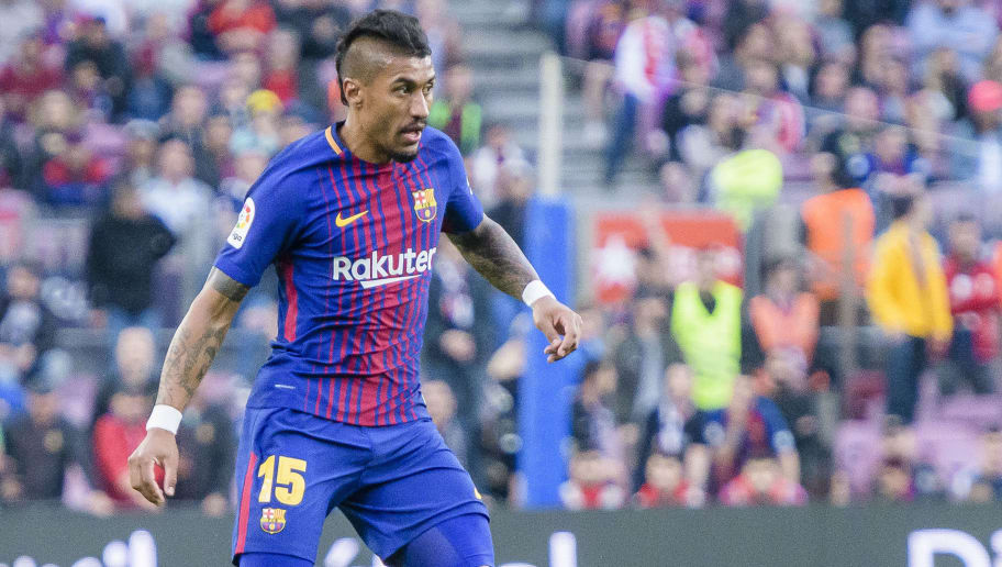 BARCELONA, SPAIN - MAY 09: Jose Paulo Bezerra Maciel Junior, Paulinho, of FC Barcelona in action during the La Liga 2017-18 match between FC Barcelona and Villarreal CF at Camp Nou on May 09 2018 in Barcelona, Spain. (Photo by Power Sport Images/Getty Images)