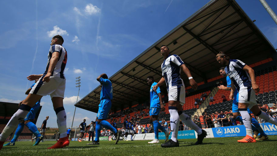 BARNET, ENGLAND - JULY 07: Kieran Richardson of West Bromwich Albion looks on as the players walk out at The Hive during the Pre-season friendly between Barnet and West Bromwich Albion on July 7, 2018 in Barnet, United Kingdom. (Photo by Marc Atkins/Getty Images)