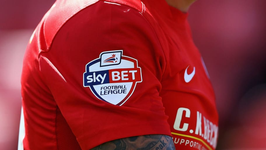 BARNSLEY, ENGLAND - AUGUST 03:  A Barnsley player wears a 'SkyBet' logo on his shirt during the Sky Bet Championship match between Barnsley and Wigan Athletic at Oakwell on August 03, 2013 in Barnsley, England, (Photo by Matthew Lewis/Getty Images)