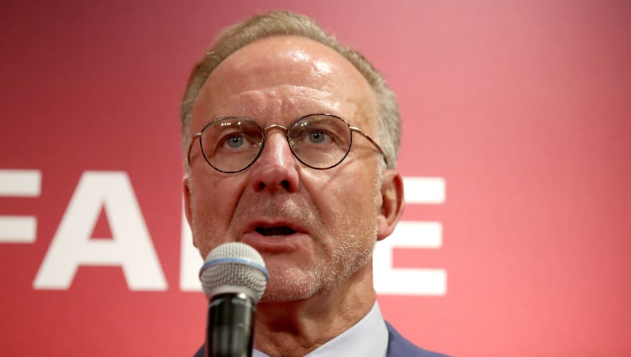 MUNICH, GERMANY - AUGUST 27:  Karl-Heinz Rummenigge, CEO of FC Bayern Muenchen looks on at FCB Erlebniswelt Museum Allianz Arena on August 27, 2018 in Munich, Germany.  (Photo by Alexander Hassenstein/Bongarts/Getty Images)