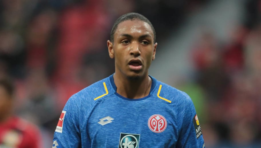 LEVERKUSEN, GERMANY - JANUARY 28: Abdou Diallo of Mainz looks on during the Bundesliga match between Bayer 04 Leverkusen and 1. FSV Mainz 05 at BayArena on January 28, 2018 in Leverkusen, Germany. (Photo by TF-Images/TF-Images via Getty Images)