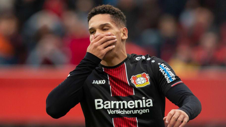 LEVERKUSEN, GERMANY - SEPTEMBER 23: Paulinho of Leverkusen gestures during the Bundesliga match between Bayer 04 Leverkusen and 1. FSV Mainz 05 at BayArena on September 23, 2018 in Leverkusen, Germany. (Photo by TF-Images/Getty Images)