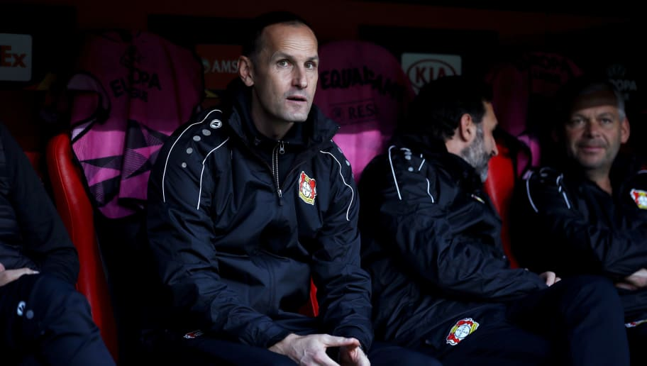 LEVERKUSEN, GERMANY - OCTOBER 04:  Heiko Herrlich, head coach of Bayer 04 Leverkusen looks on prior to the UEFA Europa League Group A match between Bayer 04 Leverkusen and AEK Larnaca  at BayArena on October 4, 2018 in Leverkusen, Germany.  (Photo by Maja Hitij/Getty Images)