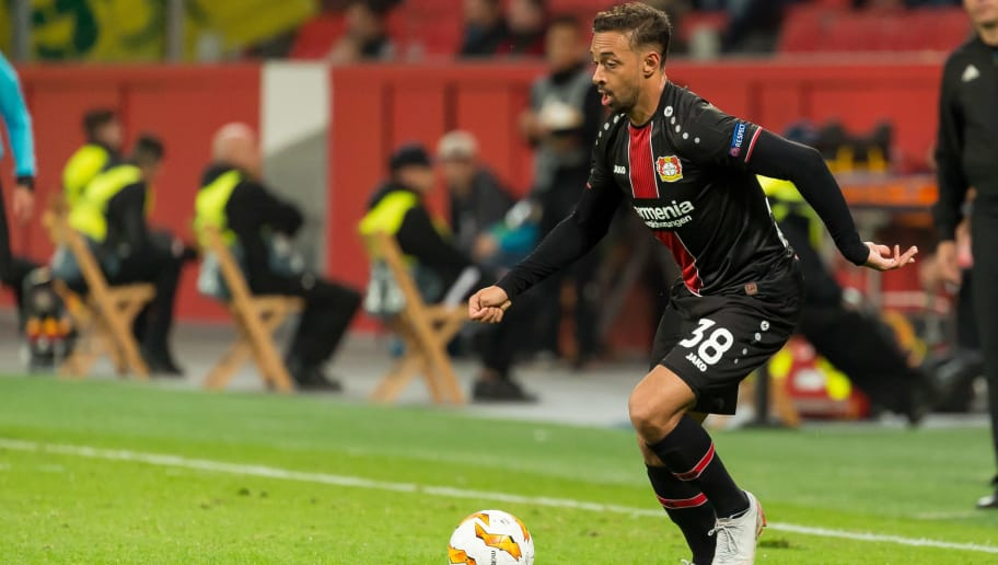 LEVERKUSEN, GERMANY - OCTOBER 04: Karim Bellarabi of Bayer 04 Leverkusen controls the ball during the UEFA Europa League Group A match between Bayer 04 Leverkusen and AEK Larnaca at BayArena on October 4, 2018 in Leverkusen, Germany. (Photo by TF-Images/Getty Images)