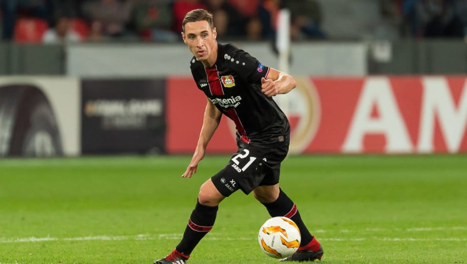 LEVERKUSEN, GERMANY - OCTOBER 04: Dominik Kohr of Bayer 04 Leverkusen controls the ball during the UEFA Europa League Group A match between Bayer 04 Leverkusen and AEK Larnaca at BayArena on October 4, 2018 in Leverkusen, Germany. (Photo by TF-Images/Getty Images)
