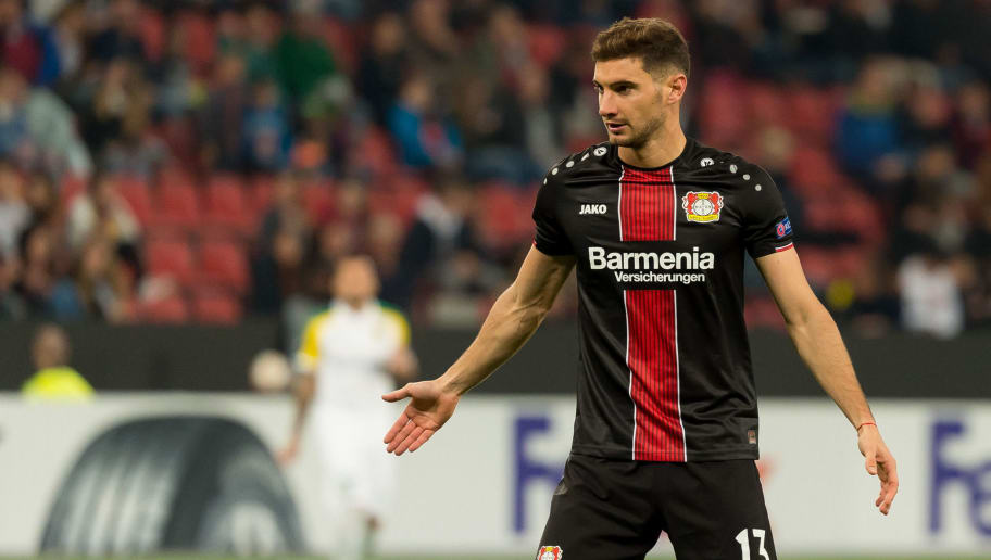 LEVERKUSEN, GERMANY - OCTOBER 04: Lucas Alario of Bayer 04 Leverkusen gestures during the UEFA Europa League Group A match between Bayer 04 Leverkusen and AEK Larnaca at BayArena on October 4, 2018 in Leverkusen, Germany. (Photo by TF-Images/Getty Images)