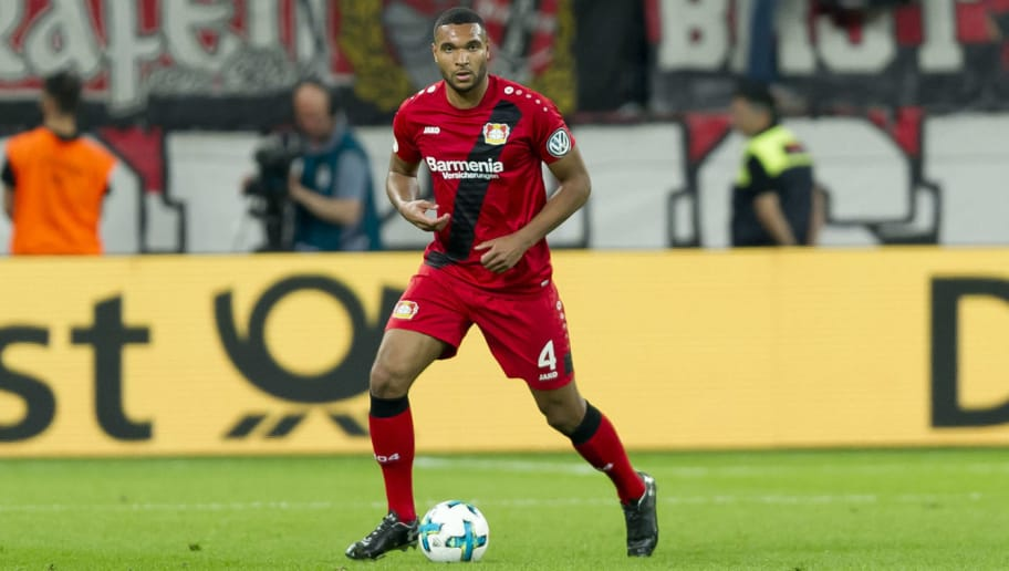 LEVERKUSEN, GERMANY - APRIL 17: Jonathan Tah of Leverkusen controls the ball during the DFB Cup semi final match between Bayer 04 Leverkusen and Bayern Muenchen at BayArena on April 17, 2018 in Leverkusen, Germany. (Photo by TF-Images/TF-Images via Getty Images)
