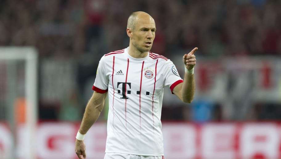 LEVERKUSEN, GERMANY - APRIL 17: Arjen Robben of Bayern Muenchen gestures during the DFB Cup semi final match between Bayer 04 Leverkusen and Bayern Muenchen at BayArena on April 17, 2018 in Leverkusen, Germany. (Photo by TF-Images/TF-Images via Getty Images)