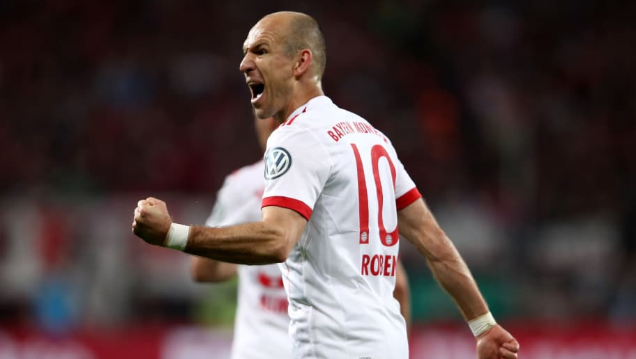 LEVERKUSEN, GERMANY - APRIL 17:  Arjen Robben #10 of Bayern celebrates after he scores the 5th goal during the DFB Cup semi final match between Bayer 04 Leverkusen and Bayern Munchen at BayArena on April 17, 2018 in Leverkusen, Germany.  (Photo by Alex Grimm/Bongarts/Getty Images)