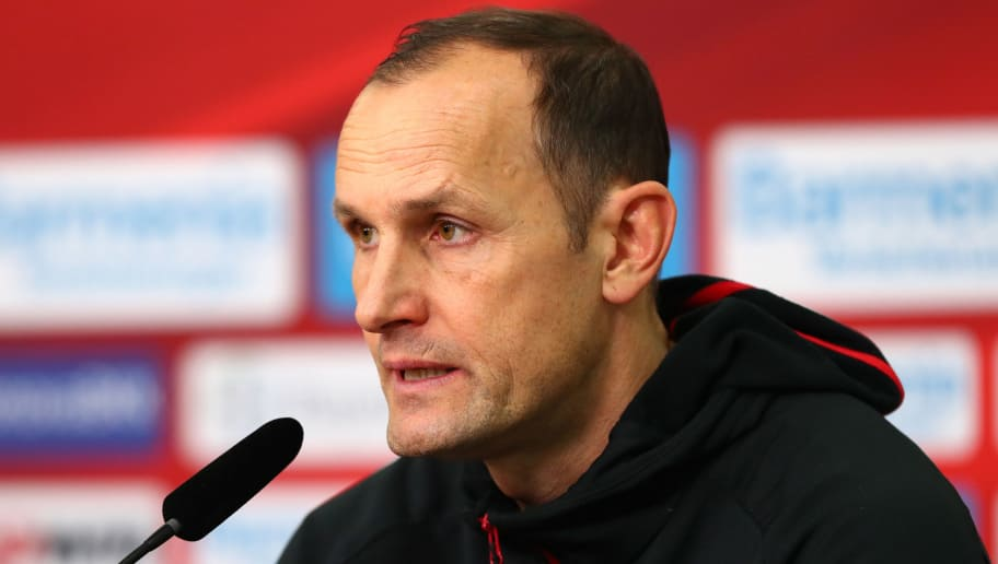 LEVERKUSEN, GERMANY - DECEMBER 02: Head coach Heiko Herrlich of Leverkusen attends a press conference after the Bundesliga match between Bayer 04 Leverkusen and Borussia Dortmund at BayArena on December 2, 2017 in Leverkusen, Germany. (Photo by TF-Images/TF-Images via Getty Images)