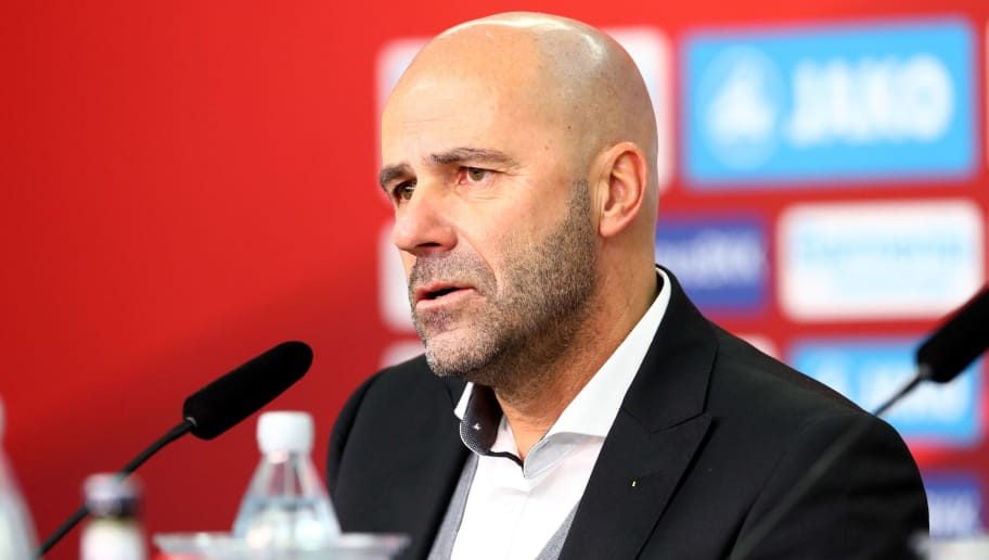 LEVERKUSEN, GERMANY - DECEMBER 02: Head coach Peter Bosz of Dortmund attends a press conference after the Bundesliga match between Bayer 04 Leverkusen and Borussia Dortmund at BayArena on December 2, 2017 in Leverkusen, Germany. (Photo by TF-Images/TF-Images via Getty Images)