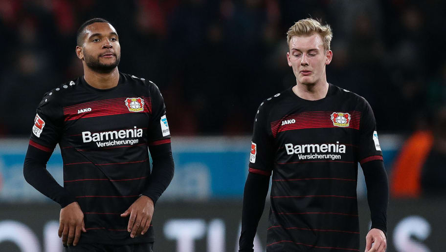 LEVERKUSEN, GERMANY - JANUARY 28: Julian Brandt of Leverkusen (R-L), Jonathan Tah and Chicharito react after the Bundesliga match between Bayer 04 Leverkusen and Borussia Moenchengladbach at BayArena on January 28, 2017 in Leverkusen, Germany. (Photo by Maja Hitij/Bongarts/Getty Images)