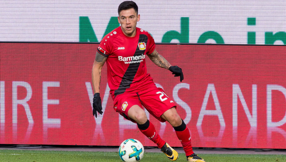 LEVERKUSEN, GERMANY - FEBRUARY 25: Charles Aranguiz of Leverkusen controls the ball during the Bundesliga match between Bayer 04 Leverkusen and FC Schalke 04 at BayArena on February 25, 2018 in Leverkusen, Germany. (Photo by TF-Images/Getty Images)