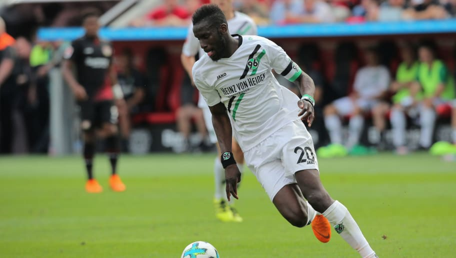 LEVERKUSEN, GERMANY - MAY 12: Salif Sane of Hannover controls the ball during the Bundesliga match between Bayer 04 Leverkusen and Hannover 96 at BayArena on May 12, 2018 in Leverkusen, Germany. (Photo by Juergen Schwarz/Bongarts/Getty Images)