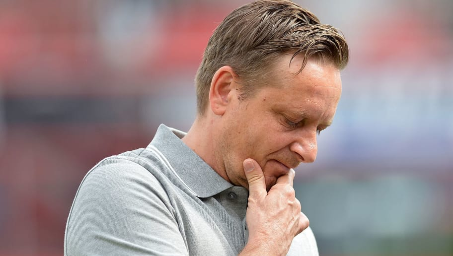LEVERKUSEN, GERMANY - MAY 12: Sporting director Horst Heldt of Hannover looks on prior to the Bundesliga match between Bayer 04 Leverkusen and Hannover 96 at BayArena on May 12, 2018 in Leverkusen, Germany. (Photo by TF-Images/Getty Images)