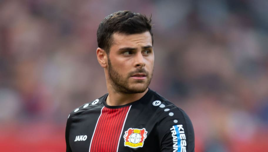 LEVERKUSEN, GERMANY - OCTOBER 20: Kevin Volland of Bayer 04 Leverkusen looks on during the Bundesliga match between Bayer 04 Leverkusen and Hannover 96 at BayArena on October 20, 2018 in Leverkusen, Germany. (Photo by TF-Images/Getty Images)