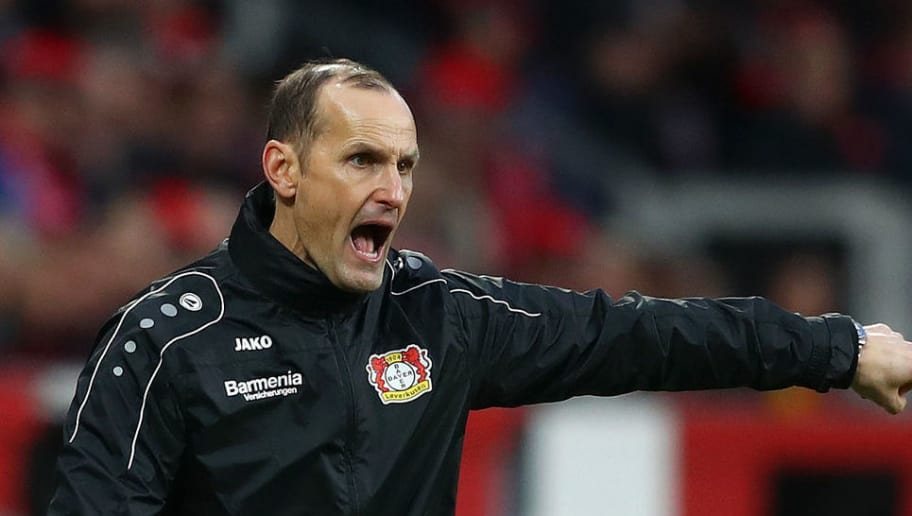 LEVERKUSEN, GERMANY - DECEMBER 22: Heiko Herrlich, Manager of Bayer 04 Leverkusen gives his team instructions during the Bundesliga match between Bayer 04 Leverkusen and Hertha BSC at BayArena on December 22, 2018 in Leverkusen, Germany.  (Photo by Lars Baron/Bongarts/Getty Images)