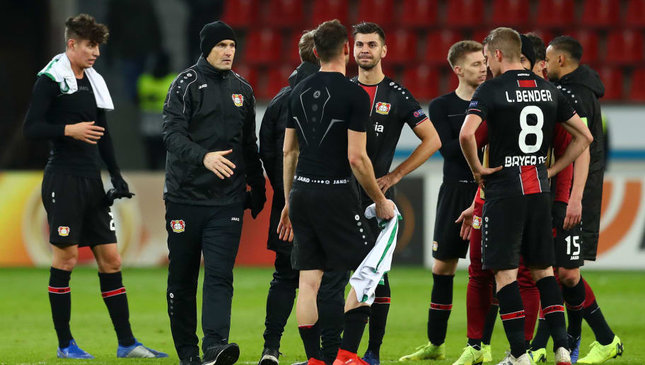 LEVERKUSEN, GERMANY - NOVEMBER 29: Heiko Herrlich, head coach of Bayer 04 Leverkusen speaks to his players after the UEFA Europa League Group A match between Bayer 04 Leverkusen and Ludogorets at BayArena on November 29, 2018 in Leverkusen, Germany.  (Photo by Lars Baron/Bongarts/Getty Images )