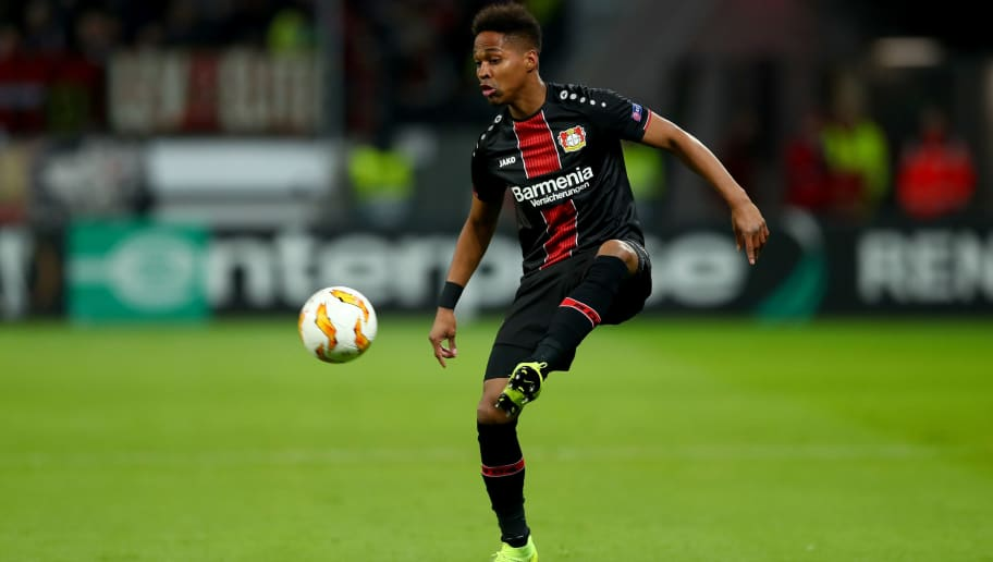 LEVERKUSEN, GERMANY - NOVEMBER 29: Wendell of Bayer Leverkusen runs with the ball during the UEFA Europa League Group A match between Bayer 04 Leverkusen and Ludogorets at BayArena on November 29, 2018 in Leverkusen, Germany. (Photo by Lars Baron/Bongarts/Getty Images )