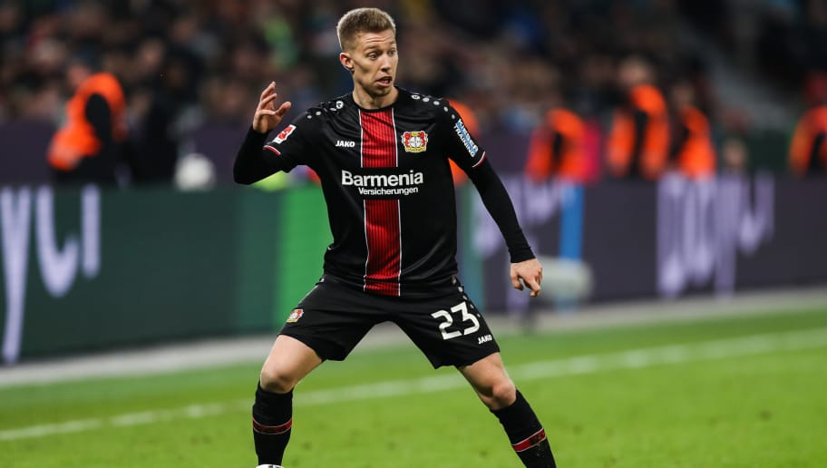 LEVERKUSEN, GERMANY - NOVEMBER 03: Mitchell Weiser #23 of Bayer Leverkusen controls the ball during the Bundesliga match between Bayer 04 Leverkusen and TSG 1899 Hoffenheim at BayArena on November 3, 2018 in Leverkusen, Germany. (Photo by Maja Hitij/Bongarts/Getty Images)